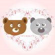 Bear and lemur face in love — Vektorgrafik
