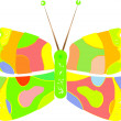 Multicolored butterfly isolated on white — Stock Vector