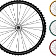 Set bicycle wheels isolated on white — Stock Vector #6497504