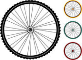 Set bicycle wheels isolated on white — Stock Vector