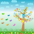 Royalty-Free Stock Vector Image: Summer landscape with birds flower and tree. Meadow Background