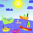 Set of boats in beautiful landscapes — Stock Vector #6512524