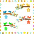 Bird house on a branch of a flowering tree - Stock Vector