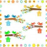 casa del pájaro en una rama de un árbol floreciente — Vector de stock