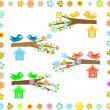 一棵开花的树的树枝上的鸟房子 — 图库矢量图片