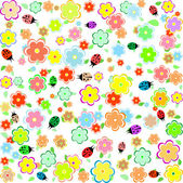 Spring background with small flowers and ladybugs — Stock Vector