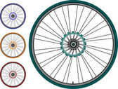 Bike wheel set - vector illustration isolated on white — Stock Vector