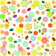 Flowers and ladybugs seamless yellow background - Stock Vector
