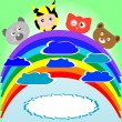 Cute kid and animals viewing rainbow — Stock Vector