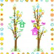 Spring tree with birds with birdhouse and flower - Stock Vector