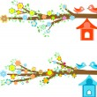 Cards birds sitting on branches and birdhouses — Vector de stock