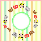 Cute cartoon animal set on colorful background — Stock Vector