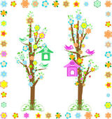 Spring tree with birds with birdhouse and flower — Vettoriale Stock