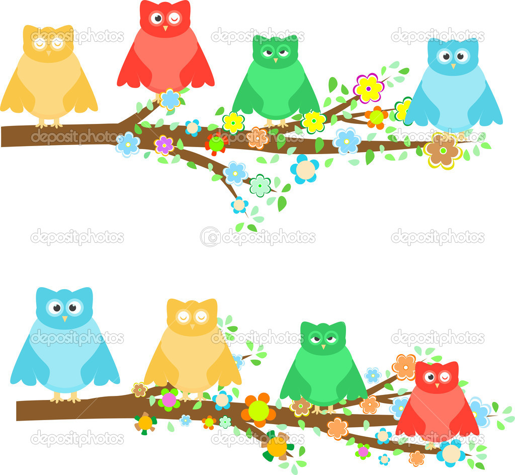 Family owls sitting in branches on tree with flower  Stock Vector #6591865