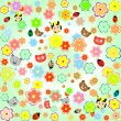 Beautiful background with animals and flowers — Stock Vector