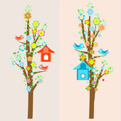 Beautiful birds and birdhouses on trees — Stock Vector