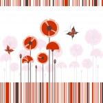 abstrakt röd vallmo på färgglada stripe bakgrund — Stock vektor