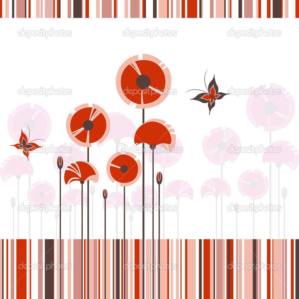 Abstract red poppy butterfly on colorful stripe background — Stock Vector #5388517