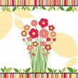 Springtime love greeting card with colorful flowers — Stock Vector #5632678