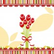Springtime love greeting card with red rose flowers — Stock Vector