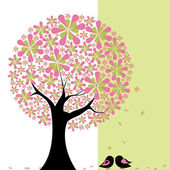 Springtime flower tree with lovebird — Stock Vector