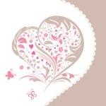 Abstract flower heart shape invitation card — Stock Vector