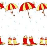 Illustration cute rain boots and umbrella seamless pattern — Stock Vector