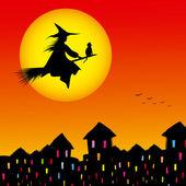Silhueta de plano de fundo halloween bruxas voando em uma vassoura — Vetorial Stock