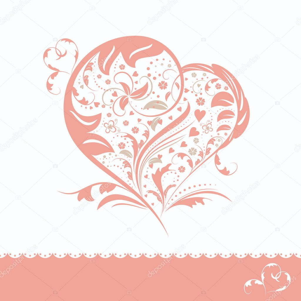 Abstract pink flower heart shape wedding invitation card — Stock Vector #5690389