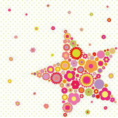 Spring summer colorful flower star shape greeting card — Stock Vector