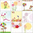 Stok Vektör: Set of colorful flower greeting card