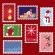 Royalty-Free Stock Vector Image: Sets of winter Christmas stamp postage