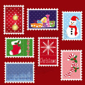 Sets of winter Christmas stamp postage — Vecteur