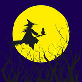 Silueta de fondo de halloween de una bruja volando en un ingenio de escoba — Vector de stock