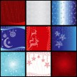 Set of elegance christmas snowflake background pattern — Stock Vector