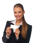 Woman manager with a business card — Stock Photo