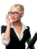 Woman manager in the glasses — Stock Photo