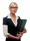Kvinna manager med en mapp — Stockfoto