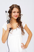 Girl with curly hair — Stock Photo