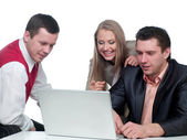 Two men and woman working — Stock Photo