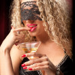 Woman with a glass of liquor — Stock Photo