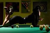 Woman in the billiard club — Stock Photo