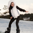 Girl with snowboard — Stockfoto #6142863