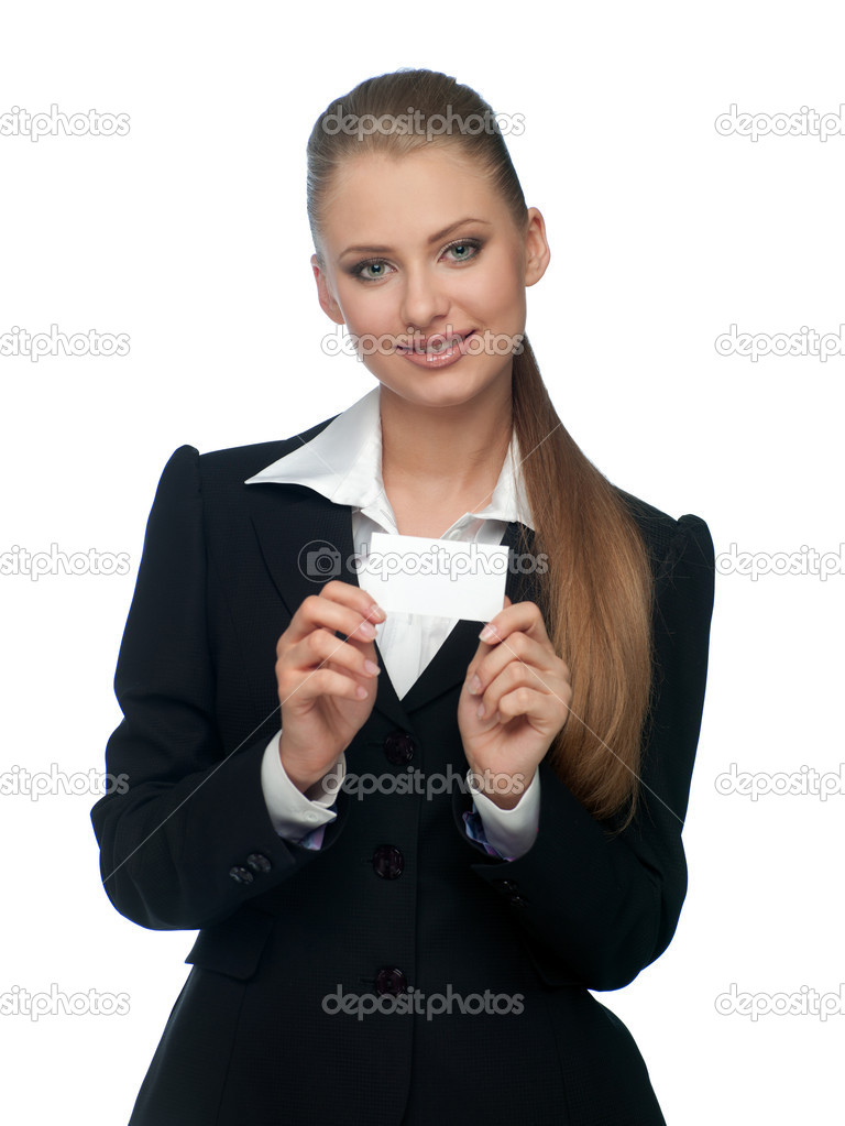Woman in a suit with a business card  Stock Photo #6550735