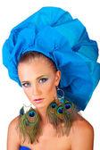 Frau in blau Hut — Stockfoto