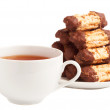 Cup of tea and chocolate cookies — Stock Photo