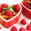 Stock Photo: French creme brulee dessert