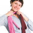 The girl with ties — Stock Photo