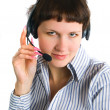 The employee of the call center — Stock Photo