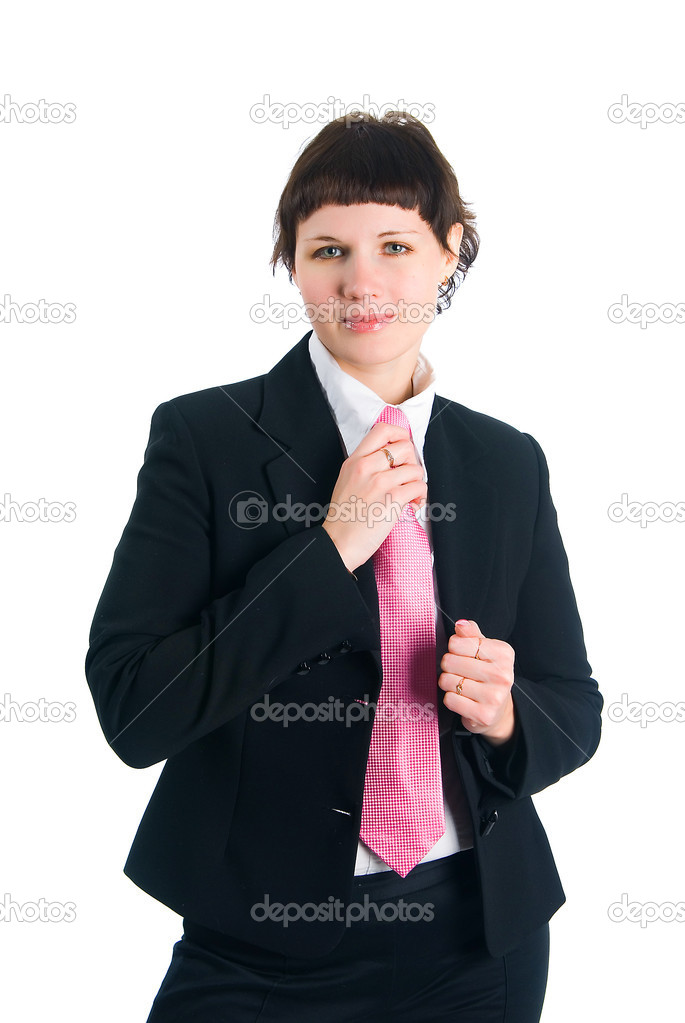 The girl in a business suit on a white background — Stock Photo #5445644